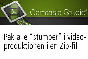 Camtasia – gem alle stumper i produktionen i en zip-fil