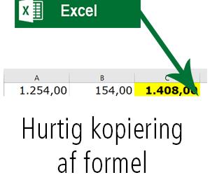 Nem kopiering af formel i Excel