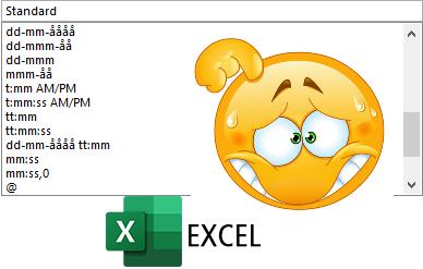 Excel – Brugerdefinerede tal- dato- og tidsformater