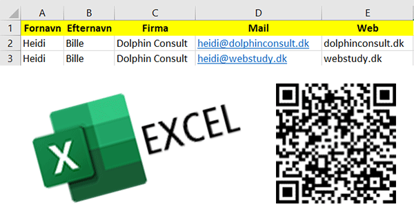 Excel – indsæt QR kode fra Excel-data